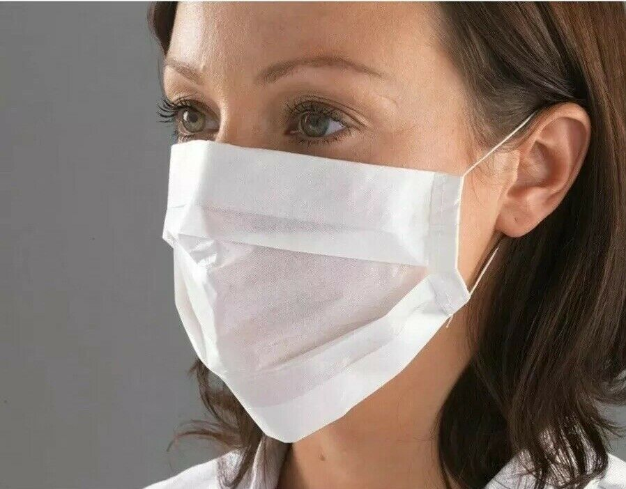50 Disposable Paper Face Mask Surgical Dental Nail Salon Dust Medical Face 2PLY