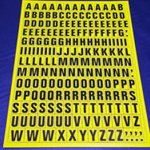 Sheet of Magnetic Letters 23mm Black on Yellow