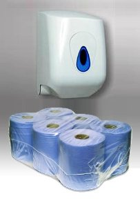 Pack of 6 Centre Feed Paper Rolls & Dispenser Unit