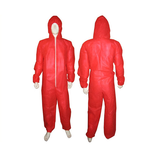 Polypropylene Disposable Suits Coveralls Red Small